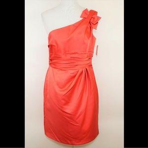 DAVIDS BRIDAL Coral pink one shoulder formal dress
